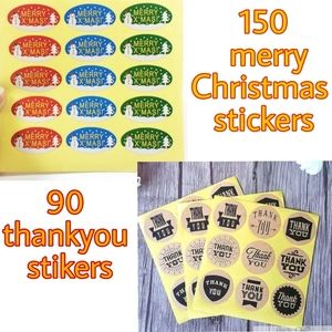 240 stickers thankyou and merry Christmas